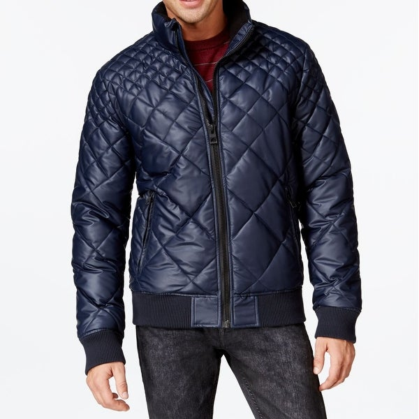47f9db2a4d04 Shop Guess NEW Navy Blue Men s Size XL Full-Zip Quilted Puffer Jacket -  Free Shipping Today - Overstock - 19846420