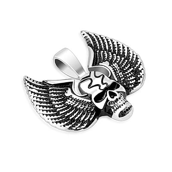 Grinning Skull with Large Wings Stainless Steel Pendant (34 mm Width)