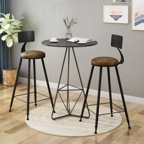 High Bar Stool With Back(set of 2)