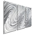 Statements2000 Silver 3 Panel Metal Wall Art Sculpture by Jon Allen - Hypnotic Sands 3P - Thumbnail 0