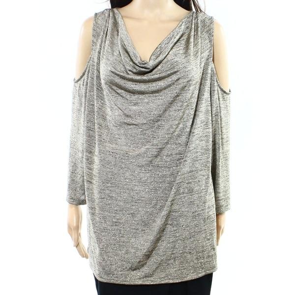 65dd88e60b9 Shop MSK NEW Gold Women s Size 1X Plus Cold Shoulder Metallic Knit ...
