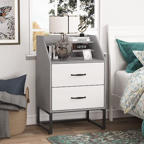 Nightstand Bedside Table with 2 Drawers and Storage Shelves