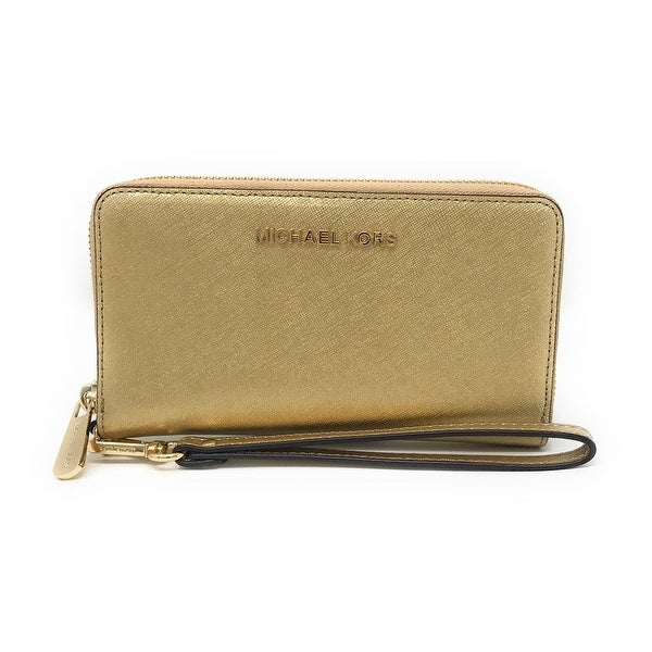 d67bd4258385b9 Michael Kors Jet Set Travel Large Multifunction Smartphone Saffiano Leather  Wristlet Case