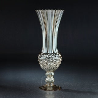 """18"""" Gray Flared and Flute Floral Pattern Glass Vase - N/A"""
