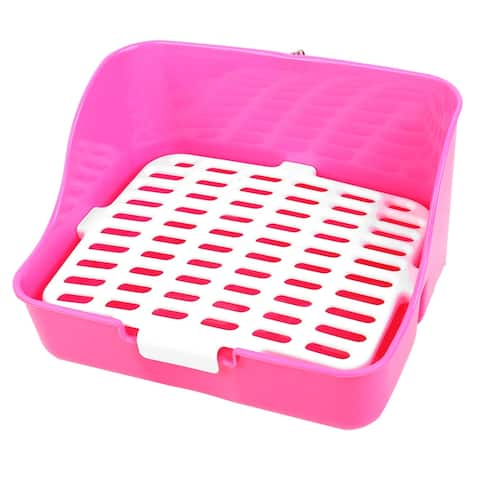 White Fuchsia 28.5cm x 22cm x 15.5cm Rectangle Meshy Style Walled Pet Dog Toilet w Clip