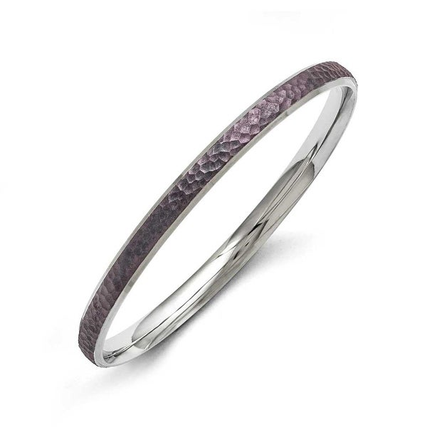 Chisel Stainless Steel Polished/Laser Cut Purple IP-plated Hammered Bangle