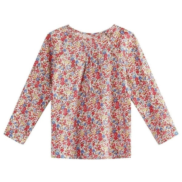 Richie House Baby Girls Colorful Long Sleeve Floral Print Cotton Dress 24M
