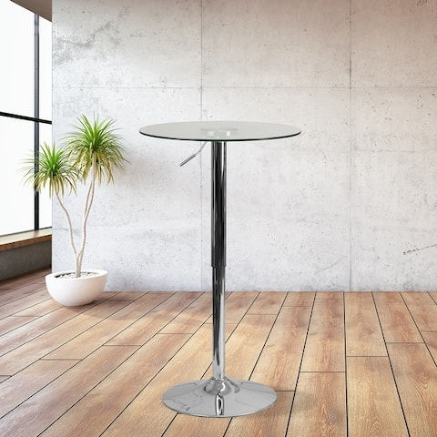 """23.5"""" Round Adjustable Height Glass Table (Adjustable Range 33.5"""" - 41"""")"""