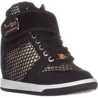 bebe Calisto Wedge Fashion Sneakers, black/Gold