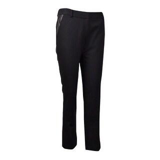 Calvin Klein Women's Faux Leather Ponte Dress Pants - Black