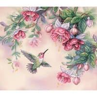 """14""""X12"""" - Hummingbird & Fuchsias Stamped Cross Stitch Kit"""