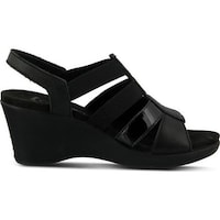 fe692aafd64627 Flexus by Spring Step Women s Monnie Slingback Wedge Sandal Black Leather