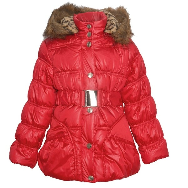 451b22c32407 Shop Urban Republic Little Girls Red Quilted Toggle Fur Trim Hooded ...