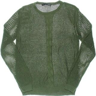 Zara Mens Cable Knit Open Stitch Crewneck Sweater - L