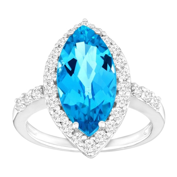 5 3/4 ct Natural Swiss Blue & White Topaz Ring in 10K White Gold