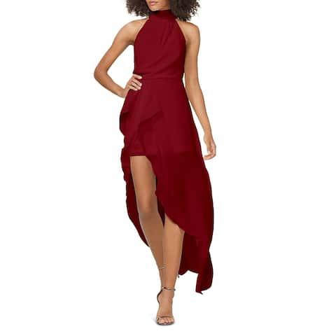 Halston Womens Halter Dress Faux Wrap Ruffled - Red