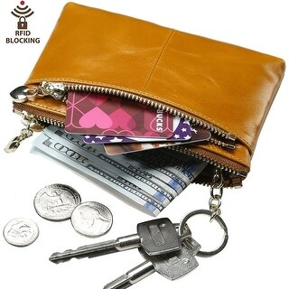 Rfid Blocking Triple Zipper Leather Mini Coin Purse Card Holder With Key Chain