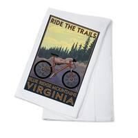 Blue Ridge Mountains VA Ride the Trails LP Artwork (100% Cotton Towel Absorbent)