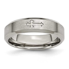 Titanium Cross Design 6mm Satin Beveled Edge Band