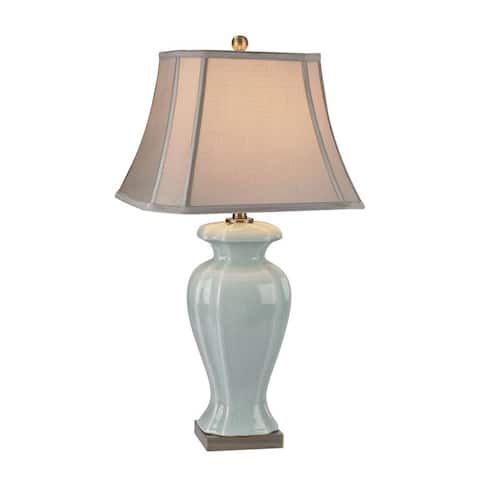 Brass Green Table Lamp Made Of Ceramic And Metal With A Cream Faux