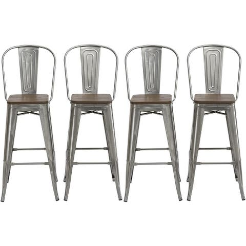 Industrial Grade Steel Construction With Solid Wood Seat and High Backrest- Set of 4