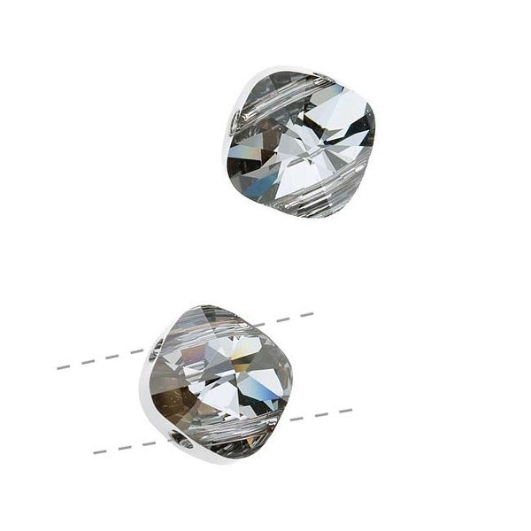 Swarovski Crystal, 5180 Square Double Hole Beads 14mm, 2 Pieces, Crystal Silver Night