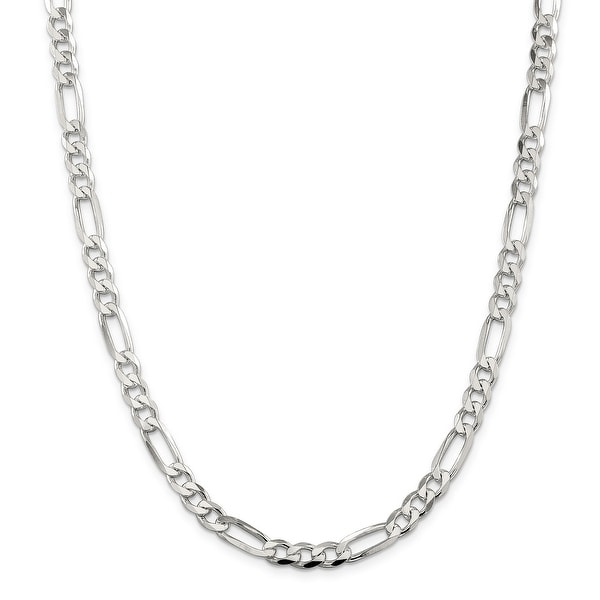 Mcs Jewelry Inc Sterling Silver White 925 Figaro Chain Necklace (5.4mm)