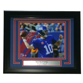 Eli Manning Signed Framed NY Giants 8x10 100th Career Win Pass Photo Steiner
