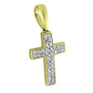 Prong Set Cross Pendant Jesus Christ 14k Yellow Gold Genuine Diamonds Mens Charm