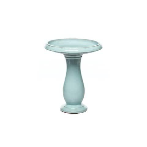 Alfresco Home Mayorca Ceramic Bird Bath - Snow Blue