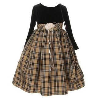 Girls Black Khaki Velvet Checker Corsage Bag Christmas Dress 8-10