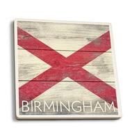 Birmingham AL - Rustic State Flag - LP Artwork (Set of 4 Ceramic Coasters)