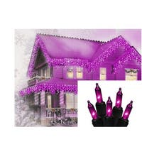 Set of 100 Purple Mini Icicle Halloween Lights - Black Wire