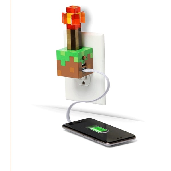 Minecraft Redstone Torch USB Wall Charger - multi