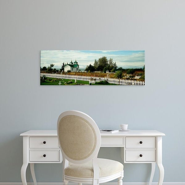 Easy Art Prints Panoramic Images's 'Cemetery and a church, Russian Orthodox Church, Ninilchik, Alaska, USA' Canvas Art