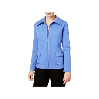 Karen Scott Sports Womens Petites Jacket Casual Zip-Up - pl