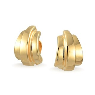 Bling Jewelry Linear Half Hoop Clip On Earrings Polished Gold Plated Alloy