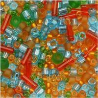 Toho Assorted Glass Beads 'Haiku' Orange/Green/Blue Mix 8g