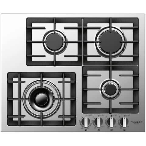 """Fulgor Milano F4GK241 24"""" Wide Gas Cooktop with Electric Re-Ignition from the 400 Series - - Stainless Steel"""