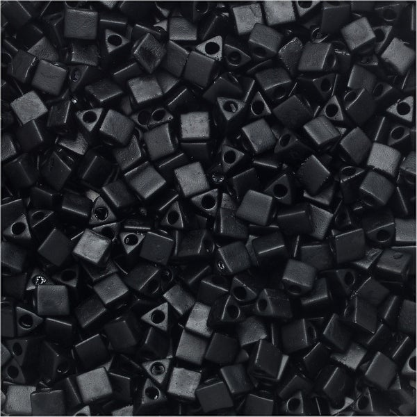 Miyuki, Sharp Triangle Beads 10/0, 7.5 Grams, Matte Black