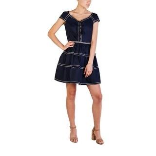 Prada Women's Cotton Nylon Blend Embroidered Dress Navy - 44