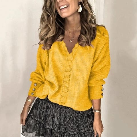 Lace V-Neck Knitted Sweater