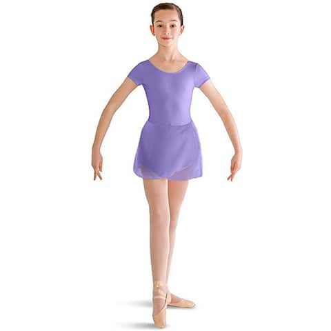 Bloch Dance Girls Prisha Short Sleeve Leotard Dress, Lavender, Size 4-6