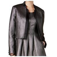 Nine West Women's Size 8 Open Shimmer Metallic Zig Zag Jacket