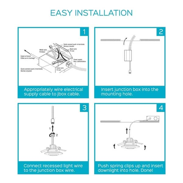 [DIAGRAM_38IU]  Shop Luxrite 3 Inch Gimbal LED Square Recessed Light with Junction Box, 8W,  600 Lumens, Dimmable, IC & Damp Rated (4 Pack) - On Sale - Overstock -  28866600 - 3000K (Soft White) | Led Light Wiring Diagram Electrical Junction Box |  | Overstock.com