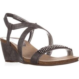 Anne Klein Jasia Strappy Wedge Sandals, Pewter
