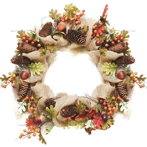 "18"" Autumn Harvest Decorative Artificial Berry Leaves Acorns Pinecones and Burlap Wreath - Unlit"