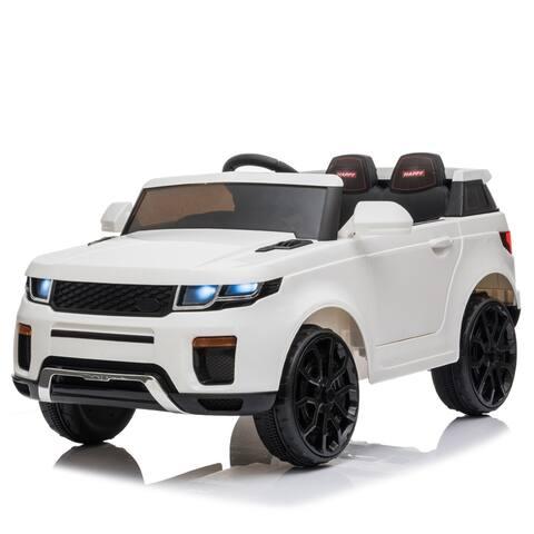 "12V Kids Ride On Car 2.4GHZ Remote Control LED Lights White - 7'6"" x 9'6"" - 7'6"" x 9'6"""