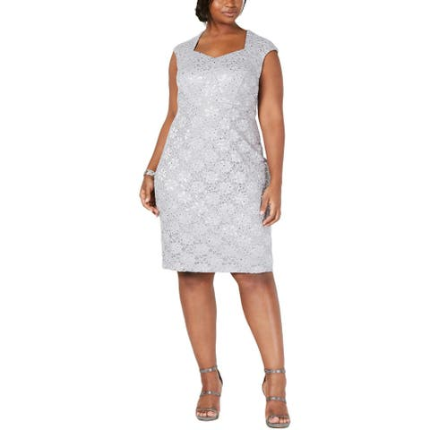 Connected Apparel Womens Cocktail Dress Sweat Heart Lace