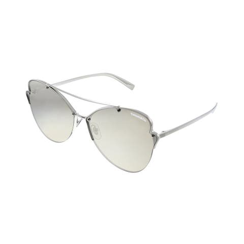 Tiffany & Co. TF 3063 6001T7 64mm Womens Silver Frame Gold Mirror Lens Sunglasses